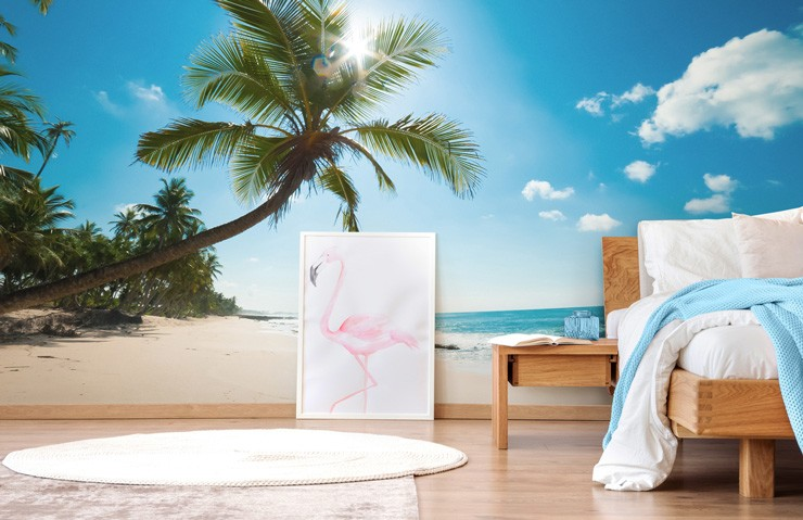 tropical beach mural in bedroom