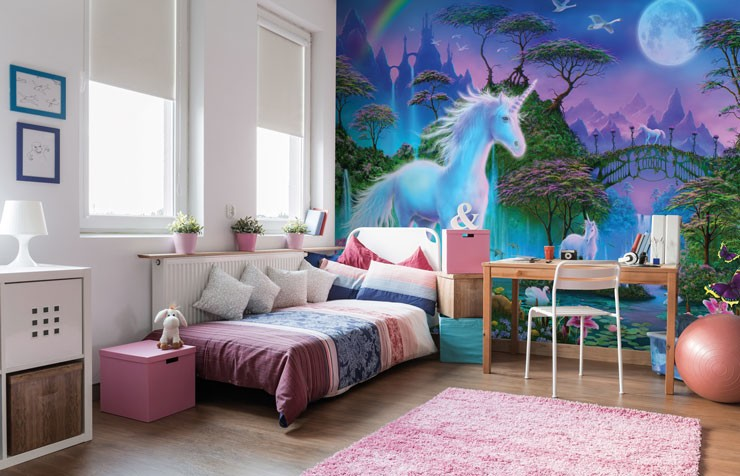 magical unicorn land wall mural in pink and white child's bedroom