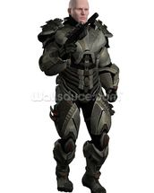 Soldier in futuristic body armour wall mural thumbnail