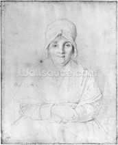Madame Ingres Mere (1758-1817) 1814 (graphite on paper) (b/w photo) wall mural thumbnail