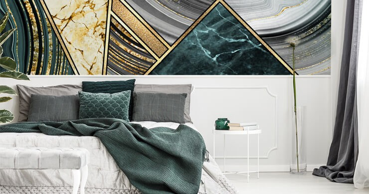 gold and green coloured retro abstract pattern wallpaper in green and white bedroom