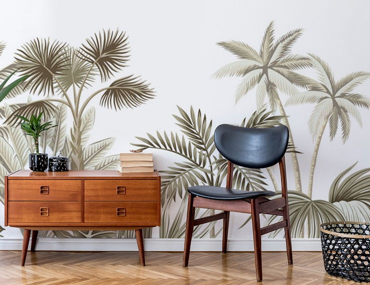 illustrated green palms and tropical plants in wood decorlounge