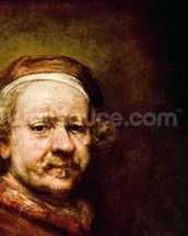 Self Portrait in at the Age of 63, 1669 (oil on canvas) (detail of 3739) mural wallpaper thumbnail