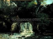 Landscape with bridge (oil on canvas) mural wallpaper thumbnail