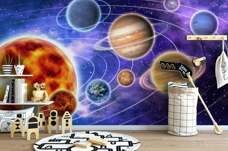 Space Wall Mural in Bedroom