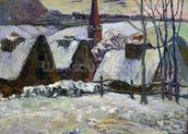 Breton village under snow, 1894 (oil on canvas) wallpaper mural thumbnail