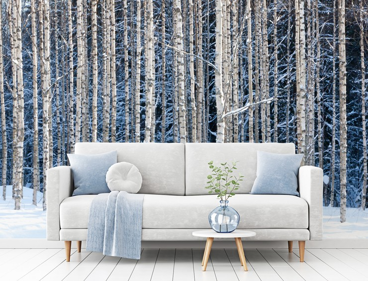 white and light-blue living room with birches covered in snow feature wall