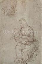 Madonna and child and head of an old man (metal point on prepared pale pink paper) wallpaper mural thumbnail