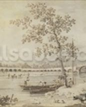 Old Walton Bridge seen from the Middlesex Shore, 1755 (pen & ink with wash on paper) wall mural thumbnail