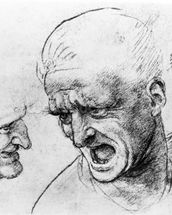 Studies for the heads of two soldiers in The Battle of Anghiari, c.1504-05 (black chalk or charcoal on paper) wall mural thumbnail
