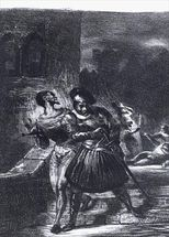Mephistopheles and Faust escaping after Valentines Death, from Goethes Faust, 1828, (illustration), (b/w photo of lithograph) mural wallpaper thumbnail