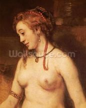 Bathsheba Bathing, 1654 (oil on canvas) (detail of 44593) mural wallpaper thumbnail