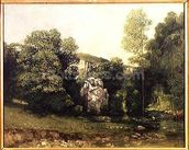 The stream of the Breme emerging from the Puits Noir, 1865 (oil on canvas) wallpaper mural thumbnail