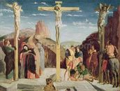 Calvary, after a painting by Andrea Mantegna (1431-1506) (oil on canvas) wallpaper mural thumbnail