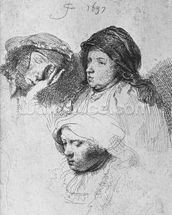 Three female heads with one sleeping, 1637 (etching) (b/w photo) wall mural thumbnail