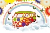 VW Camper Flower Power wall mural thumbnail