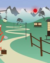 Fox in Japan wall mural thumbnail