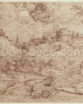 Landscape with a Dragon and a Nude Woman Sleeping (pen & ink and wash on paper) mural wallpaper thumbnail