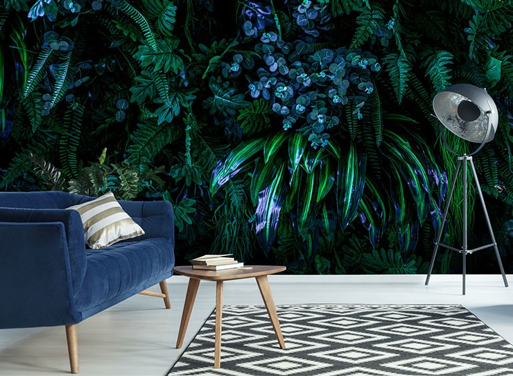 green and blue jungle wallpaper in navy lounge