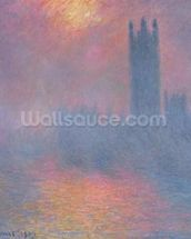 The Houses of Parliament, London, with the sun breaking through the fog, 1904 (oil on canvas) wallpaper mural thumbnail