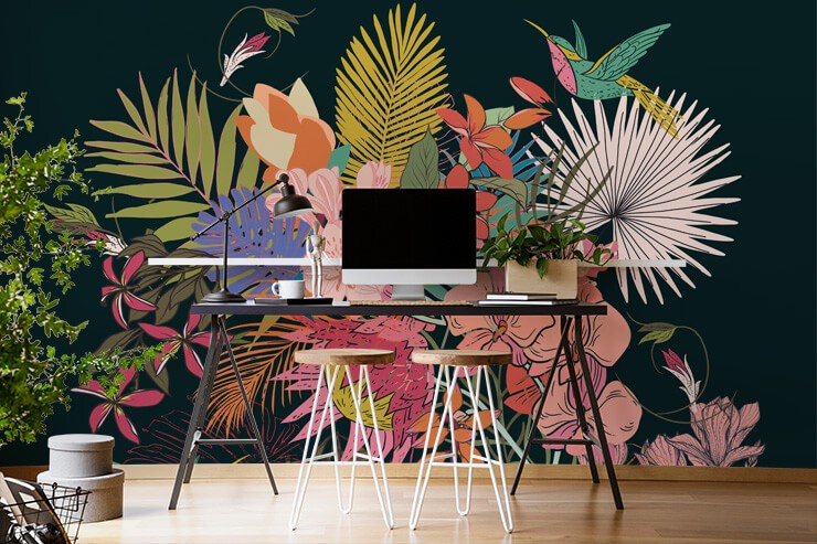 colourful tropical floral design on dark background wallpaper in trendy home office