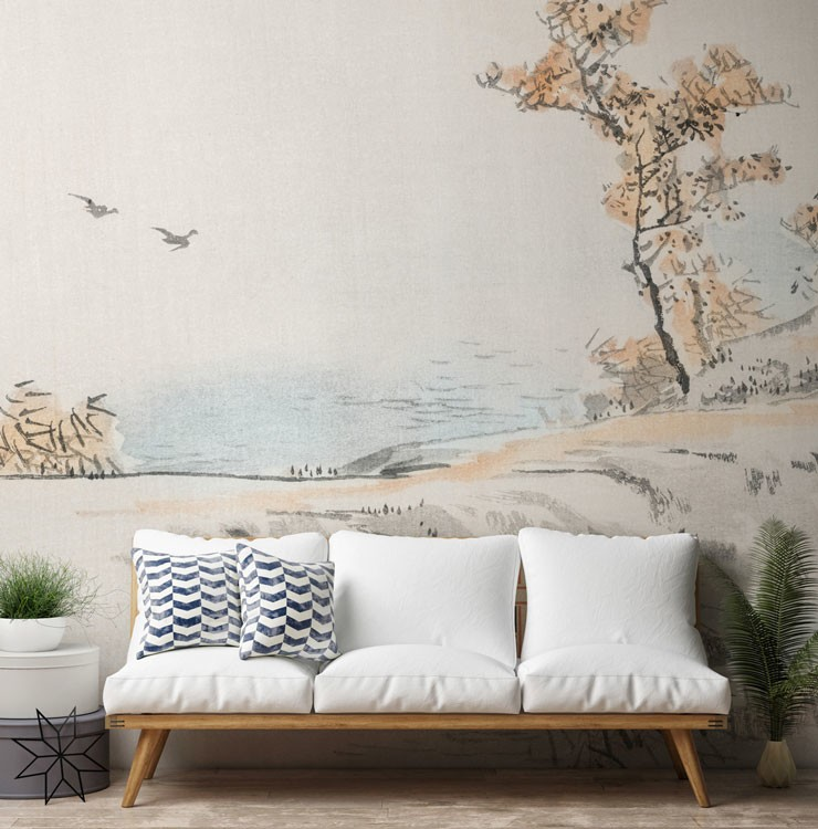 subtle oriental painted landscape wall mural in minimalist lounge