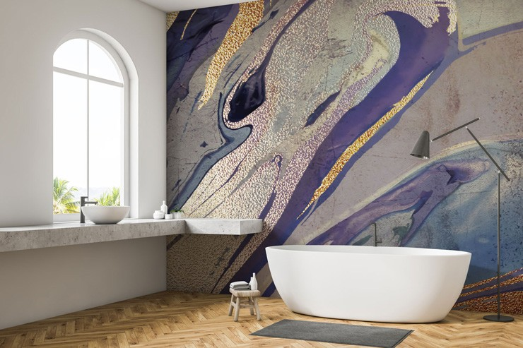 luxurious gold and purple wallpaper in white bathroom