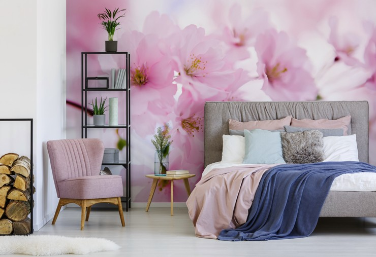 cherry blossom wallpaper in master bedroom