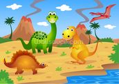 Fun Dinosaurs mural wallpaper thumbnail