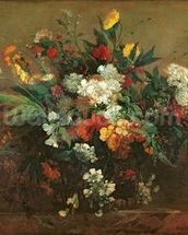 Flowers (oil on canvas) mural wallpaper thumbnail