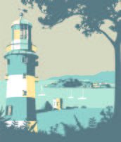 Plymouth Lighthouse mural wallpaper thumbnail