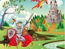 Brave Knight, Castle and Dragon wall mural thumbnail