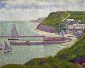 Harbour at Port-en-Bessin at High Tide, 1888 (oil on canvas) wall mural thumbnail