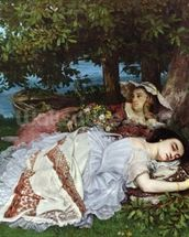 Girls on the Banks of the Seine, 1856-57 (oil on canvas) mural wallpaper thumbnail
