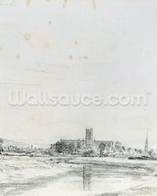 Worcester Cathedral from the South (pencil) wallpaper mural thumbnail