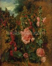 Study of Hollyhocks, c.1826 (oil on board) wallpaper mural thumbnail