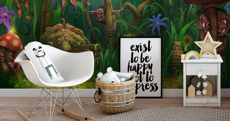 colourful digital art of trolls in forest wallpaper in child's bedroom
