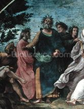 The Parnassus, detail of Homer, Dante and Virgil, in the Stanze della Segnatura, 1510-11 (fresco) wall mural thumbnail