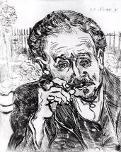 The Man with the Pipe, Portrait of Doctor Paul Gachet (1828-1909) 15th March 1890 (etching) (b/w photo) mural wallpaper thumbnail