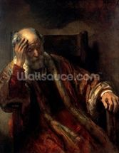 An Old Man in an Armchair (oil on canvas) wallpaper mural thumbnail