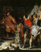 Mucius Scaevola before Lars Porsena, c.1618-20 (oil on canvas) wallpaper mural thumbnail