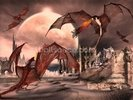 Fantasy Scene With Fighting Dragons wall mural thumbnail