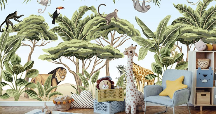 jungle animals illustrated wallpaper in cute nursery