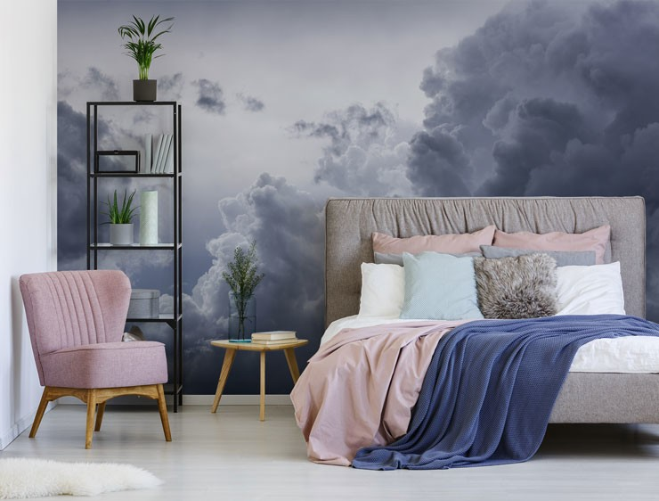 grey clouds wallpaper in pink and grey master bedroom