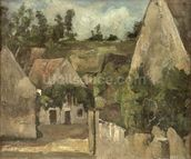 Crossroads at the Rue Remy, Auvers, c.1872 (oil on canvas) mural wallpaper thumbnail