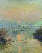 Sun Setting over the Seine at Lavacourt. Winter Effect, 1880 (oil on canvas) mural wallpaper thumbnail