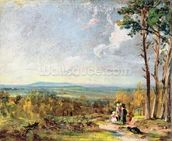 Hampstead Heath Looking Towards Harrow, 1821 (oil on paper laid on canvas) wall mural thumbnail