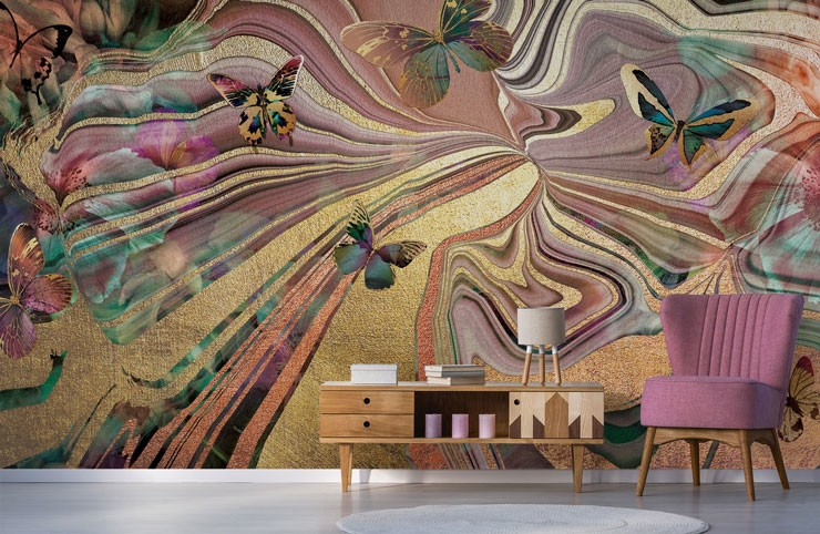 gold, rose gold and pink swirls with butterflies wall mural in pink lounge