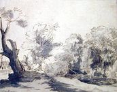 Landscape (pen and ink and wash on paper) mural wallpaper thumbnail