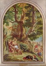 Jacob Wrestling with the Angel, 1857 (oil on canvas) wall mural thumbnail